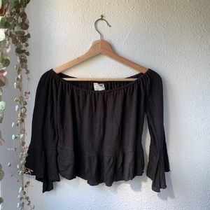 LA Hearts black crop top
